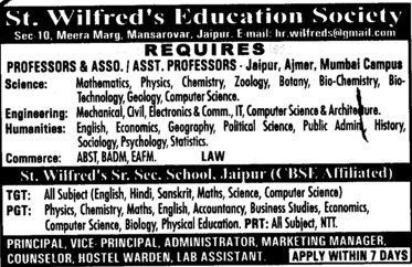 Professor, Asstt Professor and Associate Professor (St Wilfreds Group of Colleges)