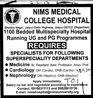 Sr Residents, Asstt Professor and Asso. Professor (NIMS University)