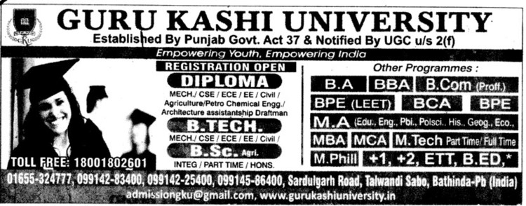 BTech, BSc and Diploma Courses (Guru Kashi University)