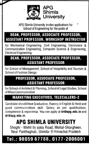 Dean, Professor, Asstt Professor and Telecaller etc (APG Shimla University)