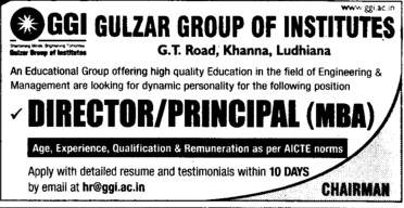 Director and Principal (Gulzar Group of Instituties Khanna)