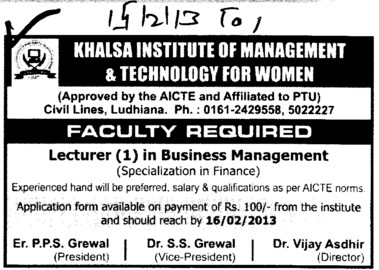 Lecturer in Business Management (Khalsa Institute of Management and Technology for Women)
