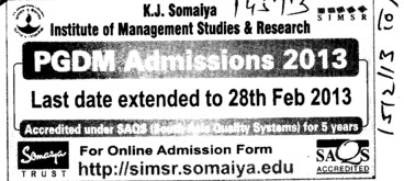 PGDM (Somaiya Institute of Management Studies and Research (SIMSR))