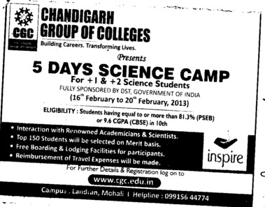 5 days Science Camp (Chandigarh Group of Colleges)