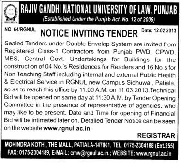 Construction of Building (Rajiv Gandhi National University of Law (RGNUL))