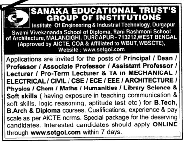 Professor, Asstt Professor and Pro Term Lecture etc (Sanaka Educational Trusts Group of  Institutions)