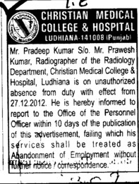 Mr Pradeep Kumar Radiographer (Christian Medical College and Hospital (CMC))