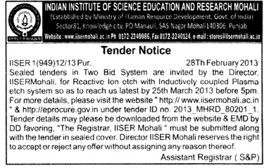 Reactive Ion otch (Indian Institute of Science Education and Research (IISER))