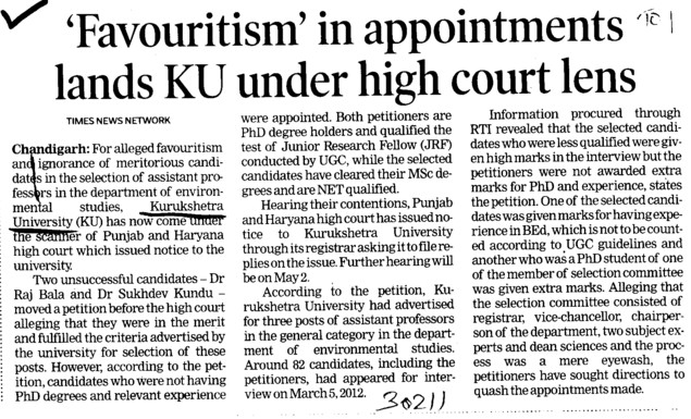 Favouritism in appointments lands KU under high court lens (Kurukshetra University)