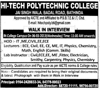 HoD, Leturers and Lab Instructors (Hi Tech Polytechnic College)