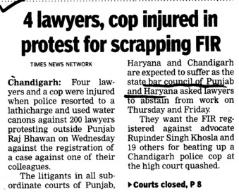 4 lawyers, cop injured in protest for scrapping FIR (Bar Council of Punjab and Haryana)