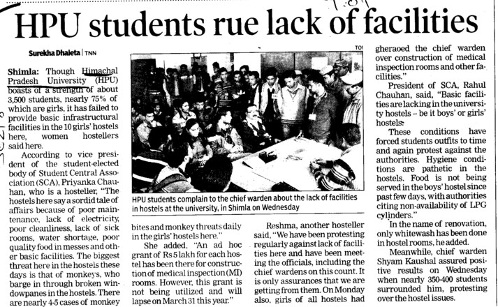 HPU Students rue lack of facilities (Himachal Pradesh University)