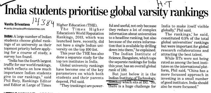 Indian Students prioritise global varsity rankings (Indian Institute of Technology (IITB))