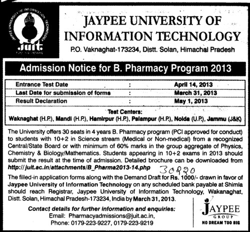 B Pharmacy Program (Jaypee University of Information Technology (JUIT))