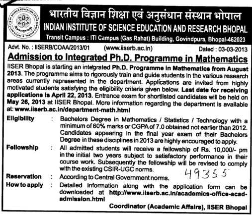 PhD Programme in Mathematics (Indian Institute of Science Education and Research (IISER))