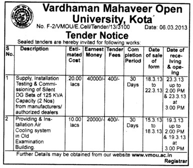 Air Cooling system etc (VARDHAMAN MAHAVEER OPEN UNIVERSITY, Regional Study Centre)