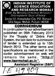 Supply of Zebra fish (Indian Institute of Science Education and Research (IISER))