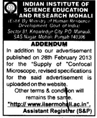 Supply of Confocal Microscope (Indian Institute of Science Education and Research (IISER))
