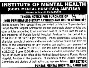 Purchase of Non Perishable Dietry Articles (Institute of Mental Health (Government Mental Hospital))
