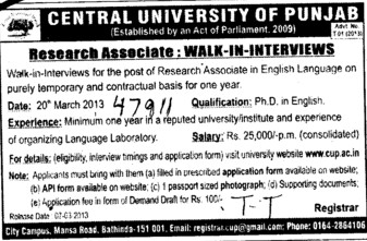 Research Associates (Central University of Punjab)