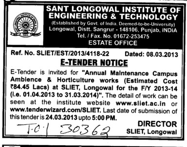 Annual Maintenance (Sant Longowal Institute of Engineering and Technology SLIET)
