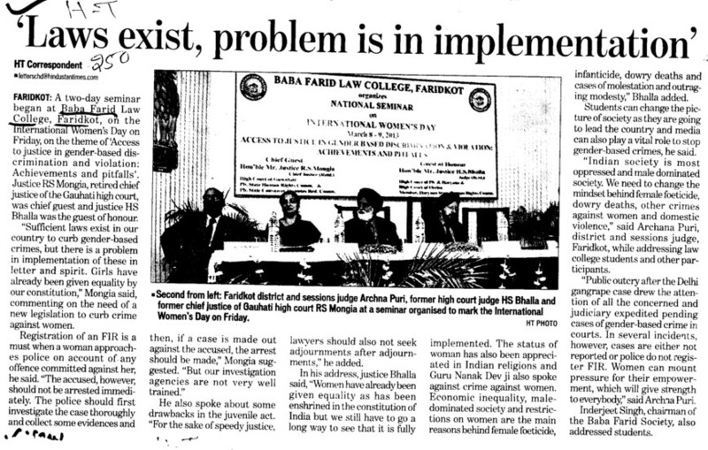 Laws exist, problem is in implementation (Baba Farid Law College)
