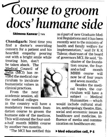 Course to groom docs humane side (Medical Council of India (MCI))