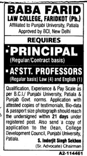 Principal and Asstt Professor (Baba Farid Law College)