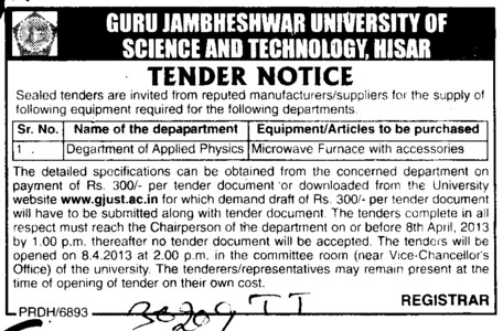 Microwave Furnace with accessories (Guru Jambheshwar University of Science and Technology (GJUST))