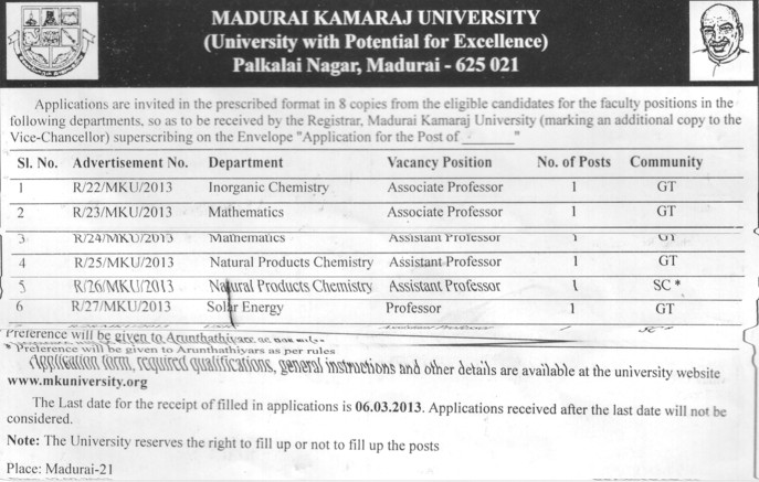 Professor, Asstt Professor and Associate Professor (Madurai Kamaraj University)