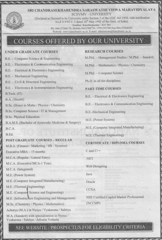 BE, BA and BCA Courses etc (Sri Chandrasekharendra Saraswathi Vishwa Mahavidyalaya Deemed University)