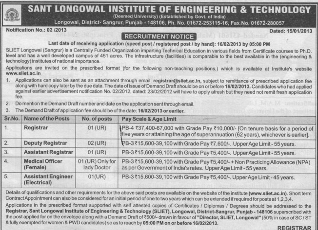 Registrar, Deputy Registrar and Asstt Engineer etc (Sant Longowal Institute of Engineering and Technology SLIET)