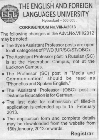 Professor and Asstt Professors (English and Foreign Languages University)