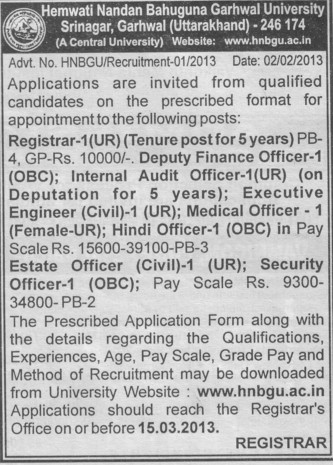 Registrar and Deputy Finance Officer etc (Hemwati Nandan Bahuguna Garhwal University)
