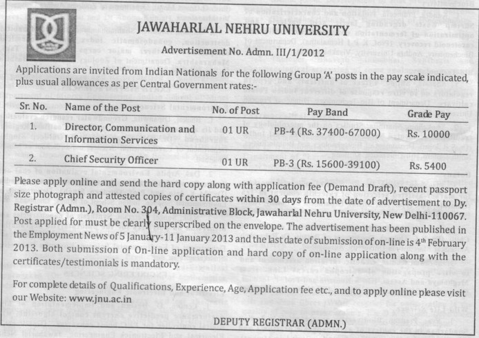Chief Security Officer and Director (Jawaharlal Nehru University)