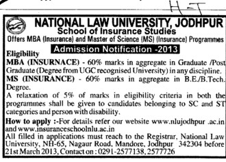 MBA and MS Programees (National Law University (NLU))