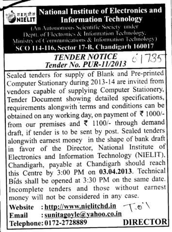 Blank and Pre Printed Computer Stationary (National Institute of Electronics and Information Technology (NIELIT))