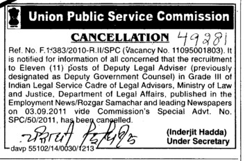 Cancellation in post of Deputy Legal Adviser (Union Public Service Commission (UPSC))