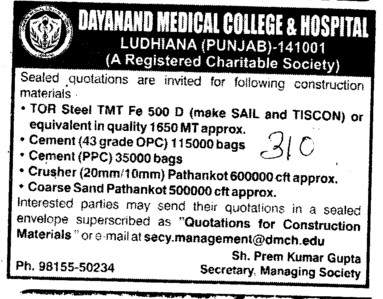 Crusher and Coarse Sand etc (Dayanand Medical College and Hospital DMC)