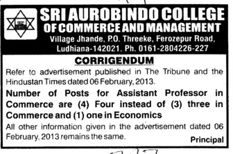 Asstt Professor in Commerce and Economics etc (Sri Aurobindo College of Commerce and Management)