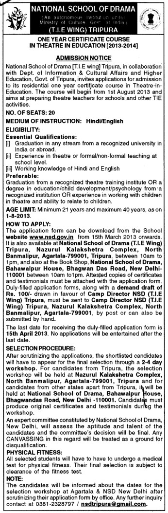 One year certificate course in Theatre in Education (National School of Drama)