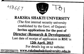 Director for R and D (Raksha Shakti University)