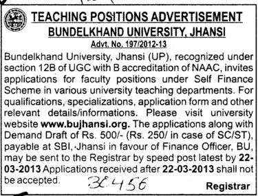 Faculty under Self finance scheme (Bundelkhand University)