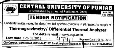Thermal Analyzer and Thermogravimetry (Central University of Punjab)