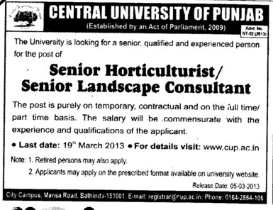 Senior Horticulturist and Senior Landscape consultant (Central University of Punjab)