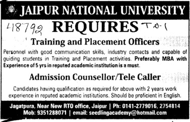 Admission counsellor and Tele caller etc (Jaipur National University)