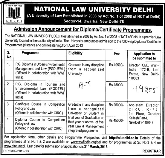 PG Diploma in Urban Environmental (National Law University)