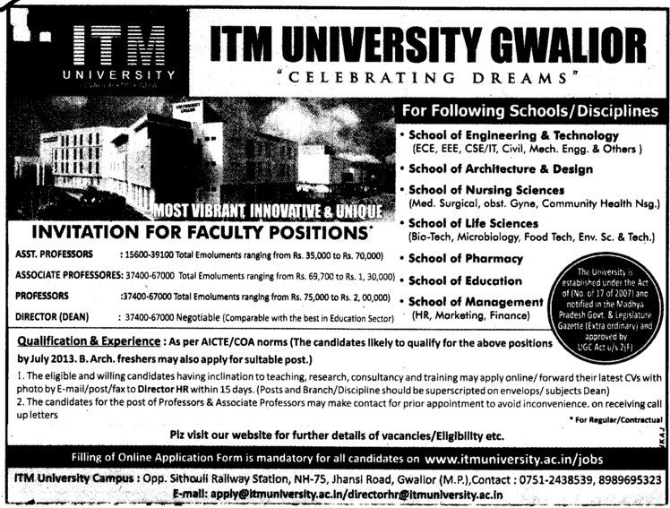 Professor, Asstt Professor and Associate Professor (ITM University)