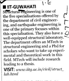 Well Equiped Structural Laboratory (Indian Institute of Technology IIT)