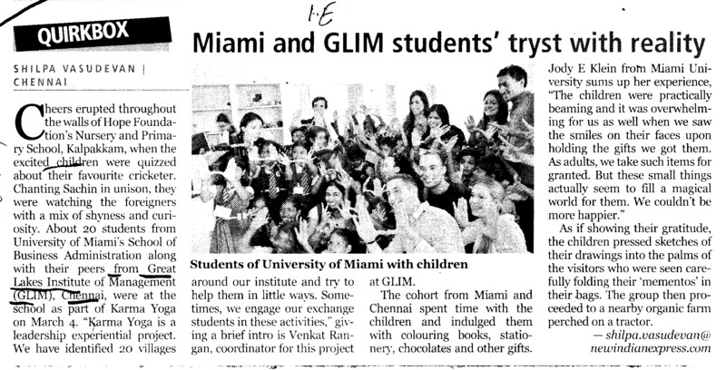 Miami and GLIM Students tryst with reality (Great Lakes Institute of Management)